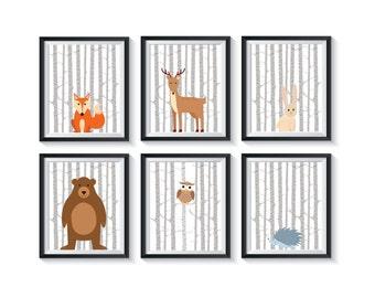 Woodland Forest Animals Art Print Set - Qty 6 - Gender Neutral Nursery Wall Art Decor, Woodland Nursery - Forest Friends Playroom, Bedroom