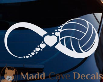 Volleyball Heart Infinity Decal   Volleyball Car Decal   Volleyball Sticker   Love Volleyball Decal