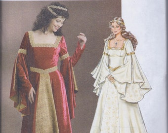 Butterick 4571 Misses Women's Medieval Ren Faire Noblewoman Costume Dress UNCUT Sewing Pattern