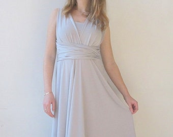 Maternity Infinity Dress  in light gray color  Bridesmaid  dress with matching tube top