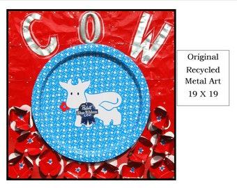 Original Recycled Metal Wall Folk Art - Cow, OOAK, Red, White, Blue, aluminum cans, Pop Art