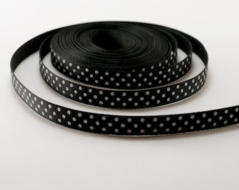 Black and White Spotted Grosgrain Ribbon - Spot Ribbon - Polka Dot Ribbon - Spotty - Dotted - Dot Ribbon - Spots trim - Sewing ribbon 10mm
