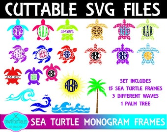 Turtle SVG, PNG Files Silhouette Cameo and Cricut FilesMonogram Font,Circle svg,Circle Monogram Frames