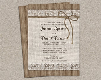 Rustic Burlap And Lace Rehearsal Dinner Invitation, DIY Printable Rustic Rehearsal Dinner Invitation, Wedding Rehearsal Invitations