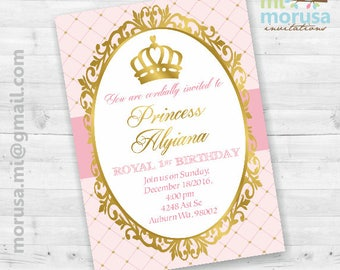 Royal Princes First Birthday Invitation, Gold, pale pink, personalized printable invitation, not an instant download.