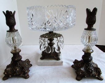 Beautiful Raised Brass & Crystal Octagon Console Bowl with Matching Candle Sticks