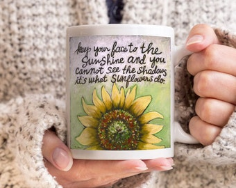 Coffee Cup, Coffee Mug, Coffee Cups, Coffee Mug Quotes, Coffee Cup Quotes, Gift for Friend, Sunflower, Helen Keller Quote