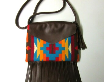 Fringed Cross Body Bag Purse Shoulder Brown Leather Native American Print Wool from Pendleton Oregon