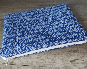 Japanese style soft cover, royal blue geometric pattern