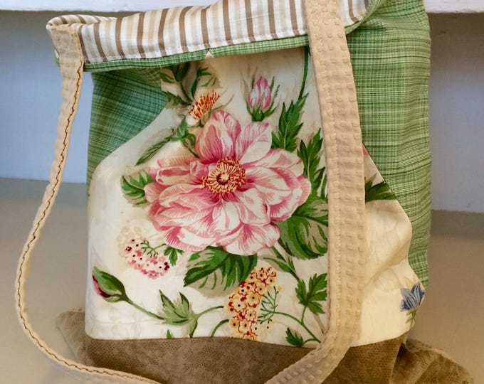 Featured listing image: Spring Floral Tote Bag - Green and Tan with Leather and Pink Flower, Lined with Beautiful Stripes