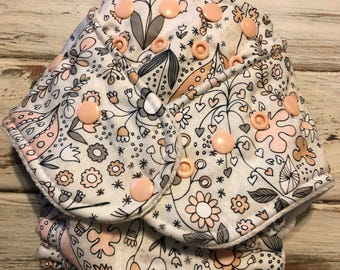 Floral Flower Hybrid Fitted Cloth Diaper OS Organic FDR Zorb