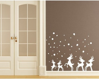 Reindeer in Snow Christmas wall decal, sticker, mural, vinyl wall art