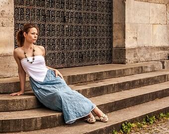 Blaue Sommerkleid aus Seide, Maxikleid, Schulterfreie Kleid, Boho Kleid mit Borte, Mehrjungfrauen kleid,Leichte Sommerkleid,Bodenlang,Boho
