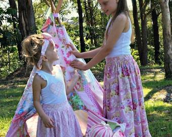 Toddler, Girls, Maxi Skirt PDF Sewing Pattern - Vintage, Retro, Maxi, Sz 3-12