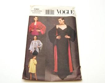 Vogue 7351. Evening kimonos pattern. Long evening kimono. Bolero style kimono. Cape style kimono with ties.   Sizes S, M, L.