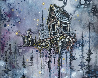 Art Print, 4.5 by 7 inches, Fantasy Illustration, Full Moon, Cottage, Surreal, Moon Goddess, Pine Forest, Watercolor, Pen and Ink