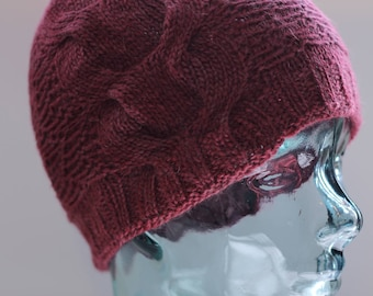 Cable beanie/toque hat in alpaca & merino with zigzag pattern - wild raspberry