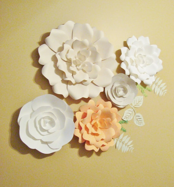 Paper Flower Set of 5 Ready to Ship Baby Nursery Bedroom
