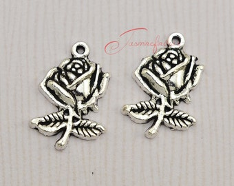 25PCS--25x18mm , Flower Charms, Antique Silver Tone Flower Charm pendants , DIY supplies,Jewelry Making. JAS5556D