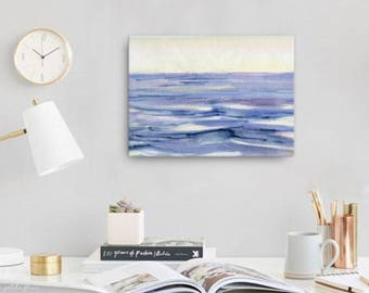 Watercolor Ocean Painting Abstract Canvas Print - Aqua Teal Blue Sea Coastal Beach Giclee Art Print - 8x10/11x14/12x16/16x20 - Mirador