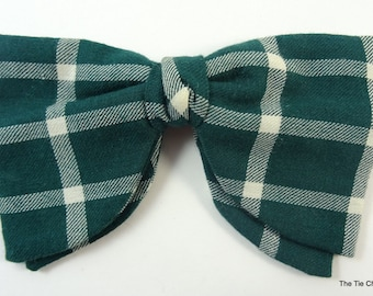 Vintage Clip-On Bow Tie Green Check Bowtie