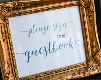 """Wedding Guestbook Sign, Custom Wedding Sign, Calligraphy Signage, Hashtag Wedding, Blue and Teal - """"Whimsical Calligraphy"""" Guestbook Sign"""