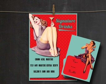 Retro 40's ~ Pinup Girls ~ Custom Signature Drinks Bar Sign & Tips Request~ Party Decor, Props, Signs