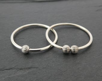 Textured Bead Sterling Silver Fidget Ring - Petite Thin Sterling Silver Spinning Bead Ring, Worry Ring