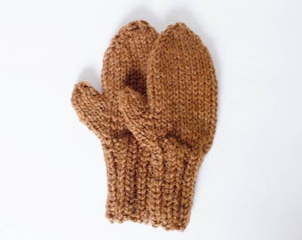 Hand Knit Brown Mittens, Toddler Size 1 to 2 Years, Warm Winter Clothing for Girl or Boy Kids, Cozy Hand Warmers, Preschool Child Gift