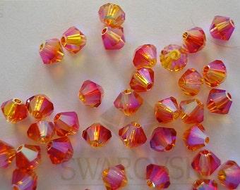 48 Fire Opal AB2X Swarovski Crystal Beads Bicone 5328 4mm