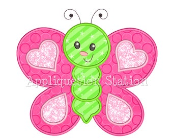 Cute Bugzee Heart Butterfly #3 Applique Machine Embroidery Design boy/girl baby insect bug INSTANT DOWNLOAD