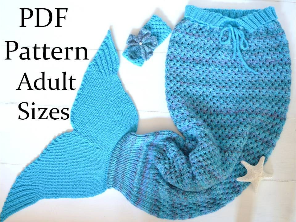 knitting pattern mermaid tail blanket for adults 4 sizes
