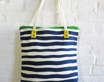 Tote Bag, Navy, Mod Tote, skinny canvas strap, rivets, Leather Pull, Industrial Zip, with 4 options of canvas detail