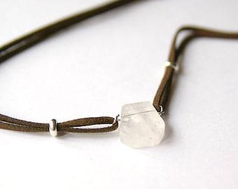 Quartz Crystal Polygon Necklace in Suede, Quartz Stone, Crystal Gemstones