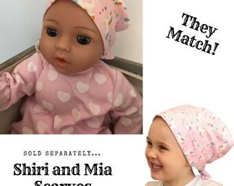 Shiri Children's Doll Head Scarf - Matching Doll Hat To Mia Scarf, Hat, Head Cover, Head Wrap, Cancer, Chemo, Alopecia, Hair Loss, Unicorns