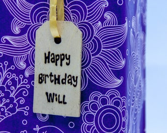 Personalised Birthday Gift Tag-Wood burned, wooden label-Pyrography