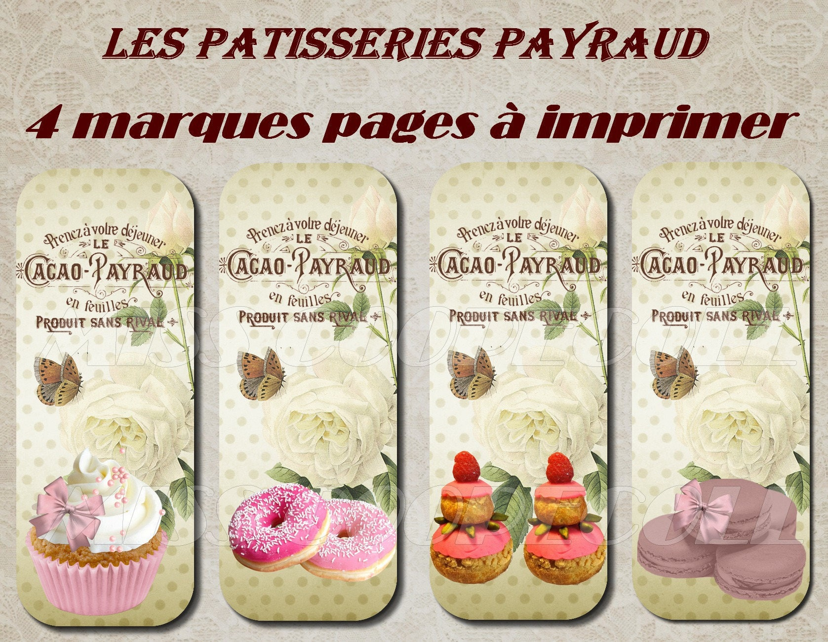 4 marques pages imprimer les patisseries payraud. Black Bedroom Furniture Sets. Home Design Ideas