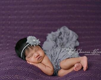 Ruffle Stretch Fabric Wrap Light Gray Newborn Photography Prop - Posing Swaddle - Maternity Wrap