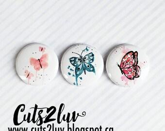 """3 Badges 1"""" Papillons aquarelle 2 Valérie"""