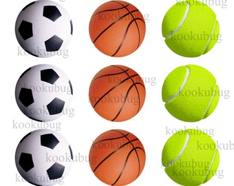 Sports element Bottle cap images Digital Collage Sheet 1 inch Round images Instant Download football, tennis ball, basketball