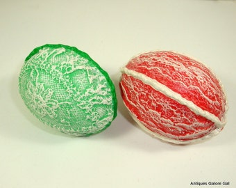 Ceramic Eggs, Set of 2, Lacy Embellishment, Red, Green, Easter Eggs, Easter Decor, Holiday Decorations  (366-15)