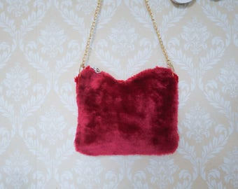 Two-tone | Red /Magenta furry clutch bag with cherry pattern satin lining
