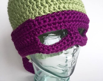 Masked Reptile beanie, handmade crochet || Child, Adult, XL Adult || Made to Order