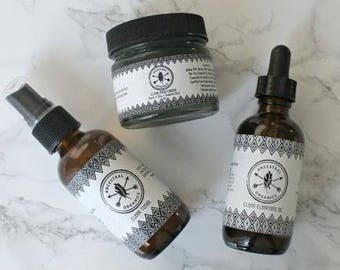 Clear Collection-Acne Prone Skin-Scarring-Oil Cleansing Method-Organic-Essential Oils-Toner-Moisturizer-Oil Cleanser-Ancestral Organics
