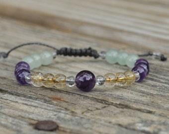 Positive Transformation, Beaded Yoga Bracelet, Amethyst, Citrine, Aventurine, Meditation Bracelet, Crystal Healing Bracelet, Minimalist
