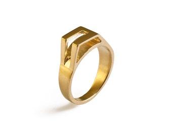 Gold signet ring, gold statement ring, geometric gold ring, gold modern ring, minimalist gold ring, designer ring, art ring, fashion ring