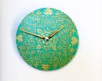 Mandala Wall Clock, Teal And Gold Home Decor, Home Decor, Decor and Housewares, Home and Living