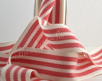 """Red & White Ribbon, 1.25"""" wide by the yard, Christmas, Red Striped Ribbon, Candy Cane Striped Ribbon, Party Supplies, Gift Ribbon, Bows"""