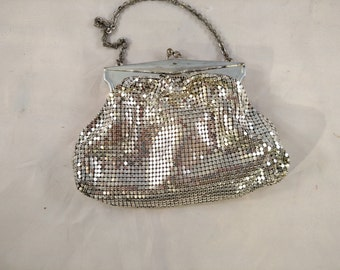 Whiting and Davis Silver Mesh Bag with Chain Strap