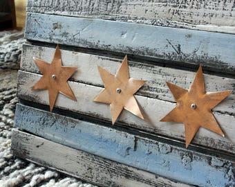 Reclaimed Wood Chicago Flag + Rose Gold Copper Stars. Wooden Sign . Handmade . Rustic Flag . Distressed Flag . Wooden Chicago Flag . Chicago